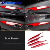 Litanglee Armrest Panel Trim Decoration Sticker ABS Red Door Panels Interior Refit For Cadillac ATSL Car Styling