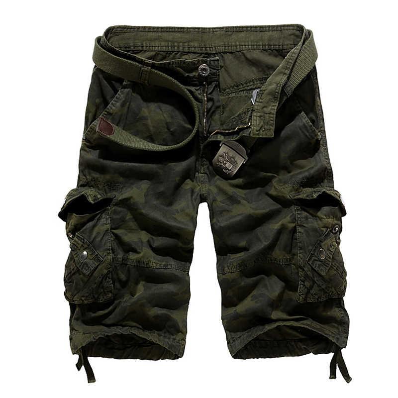 Kamuflaż luźne szorty cargo męskie fajne 2019 letnie wojskowe moro krótkie spodnie Homme szorty cargo 29-40