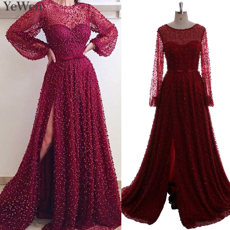 Lantern Sleeve High Split Wine Red Pearls Lace Long Sleeve   Evening     Dresses   2019 Luxury Tulle   Evening   Gown Real Photo Dubai