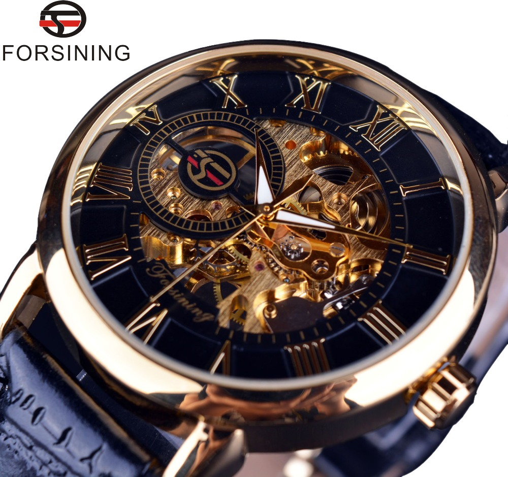 Forsining 3d Logo Ontwerp Holle Graveren Black Gold Case Leather Skeleton Mechanische Horloges Mannen Luxe Merk Heren Horloge