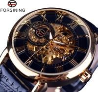 Forsining 3d Logo Ontwerp Holle Graveren Black Gold Case Leather Skeleton Mechanische Horloges Mannen Luxe Merk Heren Horloge