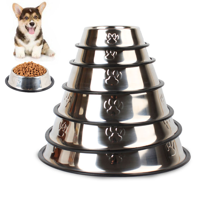 Anti-Skid Cat Puppy Dog Pet Bowl Non Slip Stainless Steel Bowls Dish Travel Water Plate Food Feed