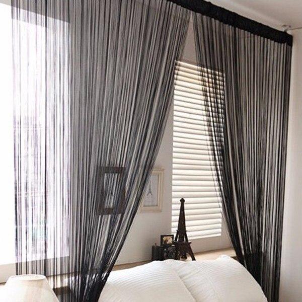 2017 Hot Solid Color Black Pink White Tel String Door Sheer Curtain Decor Window Panel Room Divider Line Cl520