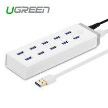 Ugreen usb 3.0 hub 10 порта высокая скорость с 12 В 4а адаптер питания usb разветвитель для компьютера/ноутбук/смартфон/tablet