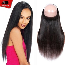 Silky straight Brazilian virgin human hair 360 lace frontal closure with baby hair 360 silky straight 7A lace frontals