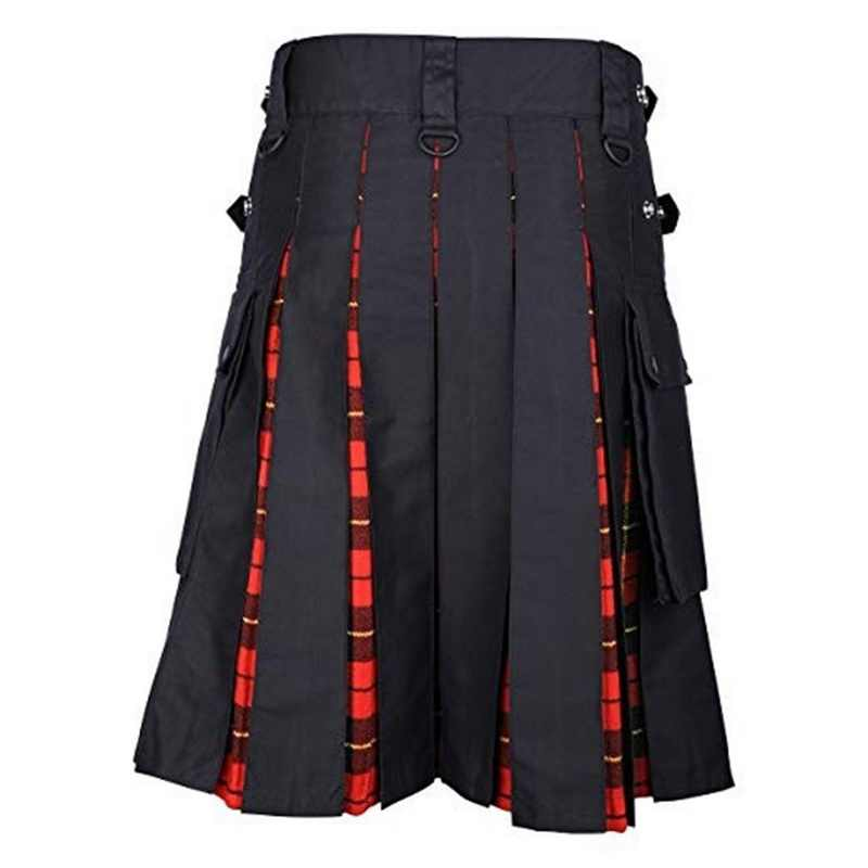 VERTVIE 2019 Регулируемая талия мужские повседневные юбки брюки однотонные в клетку панк хип-хоп авангардные мужские модные брюки Шотландский Килт