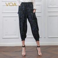 VOA женские спортивные брюки Шелковые штаны шаровары свободные Девять Брюки с карманами на шнурке черные повседневные брюки женская уличная