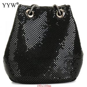 Image 1 - 여성을위한 블랙 패션 체인 숄더 가방 저녁 파티 양동이 스팽글 가방 2020 은색 골드 지갑 여자 핸드백 여자 dropship
