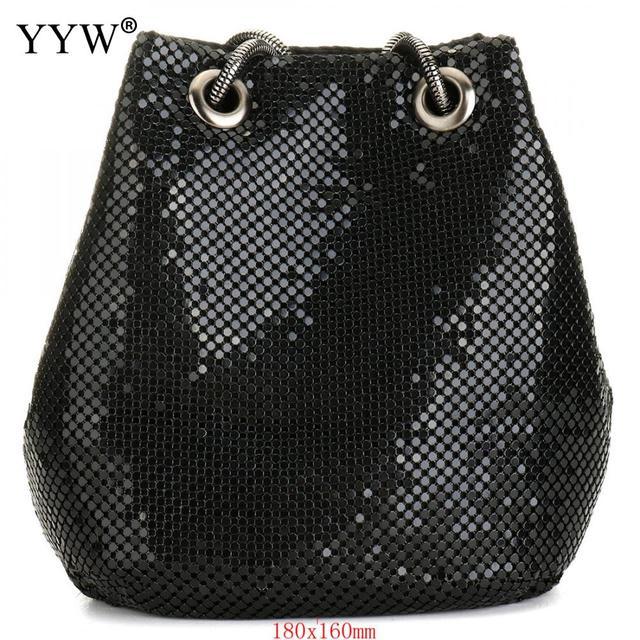 여성을위한 블랙 패션 체인 숄더 가방 저녁 파티 양동이 스팽글 가방 2020 은색 골드 지갑 여자 핸드백 여자 dropship
