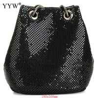 Czarna moda łańcuszkowa torba na ramię wieczór Party wiadro cekiny torba dla kobiet 2018 Sliver złota torebka dziewczyna torebki kobieta dropship