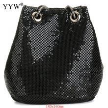 สีดำแฟชั่นโซ่ไหล่กระเป๋าPartyถังเลื่อมกระเป๋าผู้หญิง2020 Sliver Goldกระเป๋าสาวกระเป๋าถือหญิงDropship