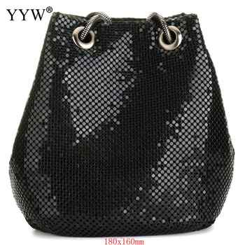 black Fashion Chain Shoulder Bag Evening Party Bucket Sequin Bag For Women 2018 Sliver Gold Purse girl Handbags Female dropship - DISCOUNT ITEM  30% OFF All Category