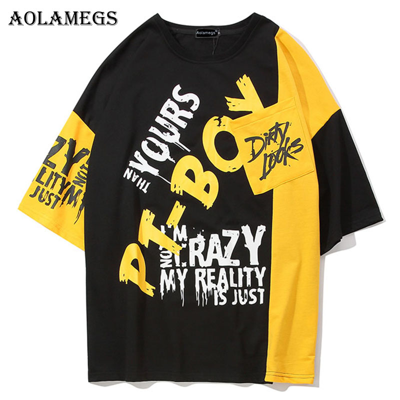 Aolamegs Shirts Men Patchwork Letter Male Shirts Cotton Short Sleeve Shirt Hip Hop Fashion College Style Summer Streetwear