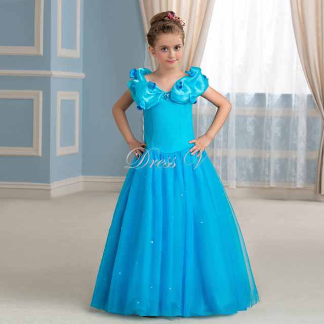 Princess Cinderella Flower Girl Dresses Ice Blue Tulle Off the ...