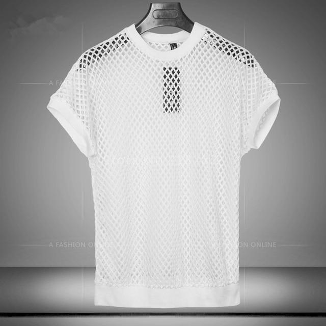 1efc8730494 Summer Breathable Sexy Men s Black Fishnet TopsTransparent T-shirts Net  Mesh Gay See-Thru Lounge Funny Shirt Undershirt Fashion