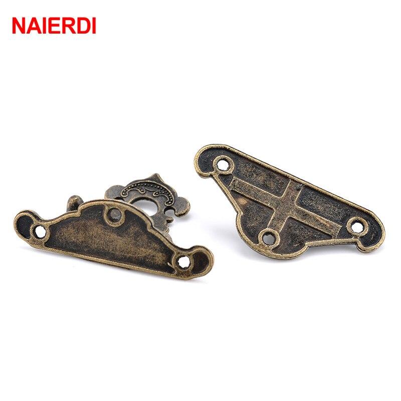 Купить с кэшбэком NAIERDI 4pcs Antique Bronze Hasp Latch Jewelry Wooden Box Lock Mini Cabinet Buckle Case Locks Decorative Handle 3 size