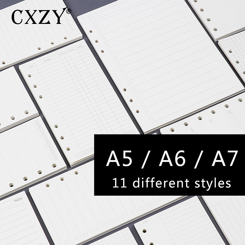 CXZY A5 A6 A7 Loose Leaf Page Refill Spiral Notebook Paper Planner Weekly Monthly Plan Dotted Grid Blank Sketch Bullet Daily