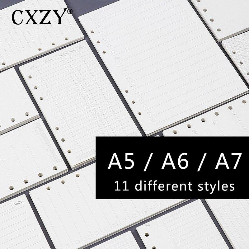 CXZY A5 A6 A7 лист пополнения спираль блокнот бумажный планировщик Еженедельный Ежемесячный план точечная сетка пустой эскиз пуля ежедневно