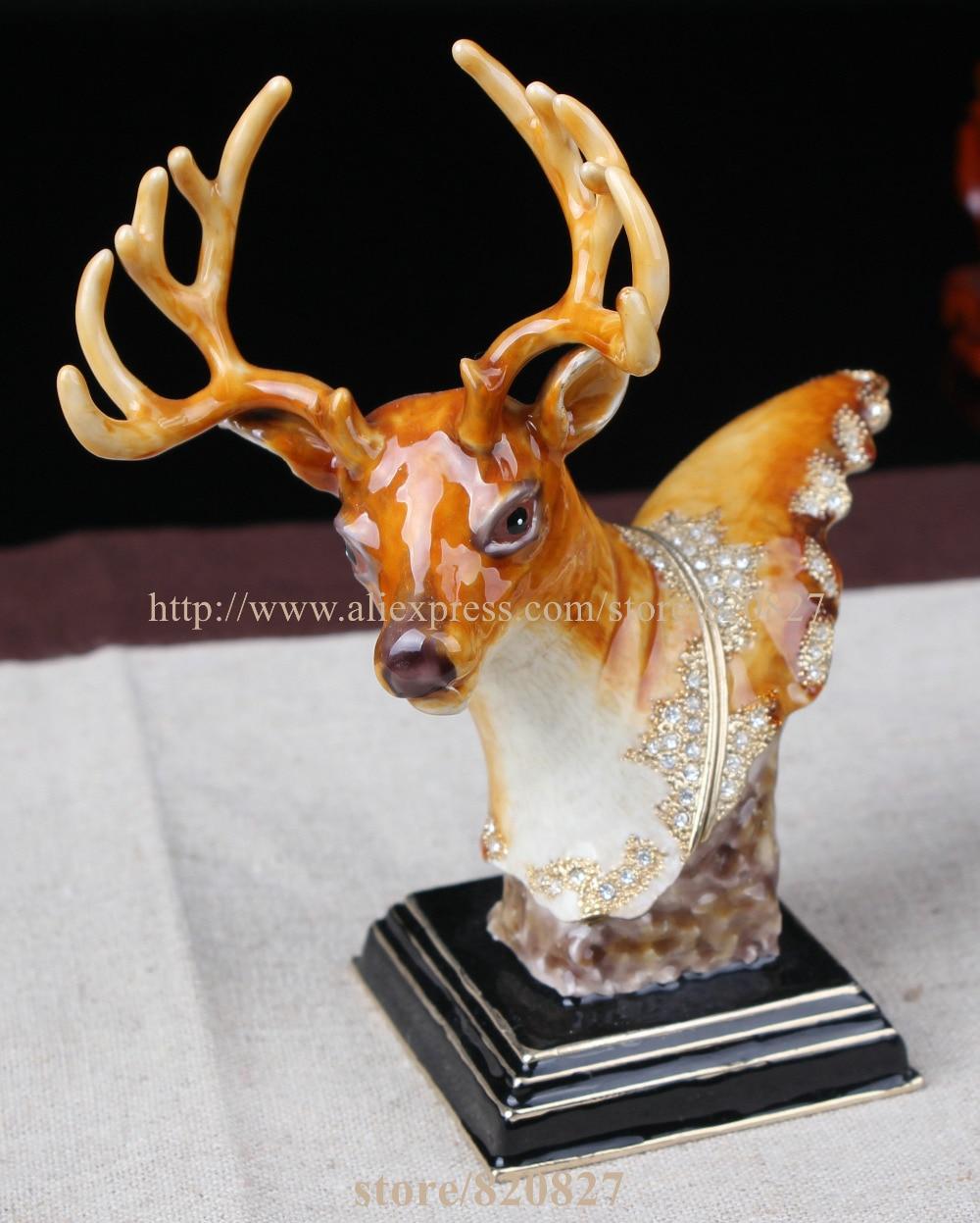 Metal Deer Figurine Display Standing Vintage Buck Deer Decor Deer Head Storage Box Pill Box Container Girl Deer