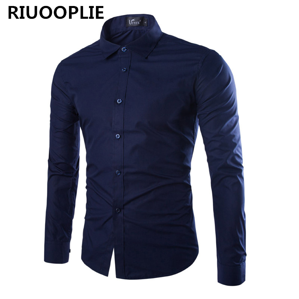 RIUOOPLIE Men Shirt Long Sleeve Chemise Fashion Business Design Slim Fit Casual Tops