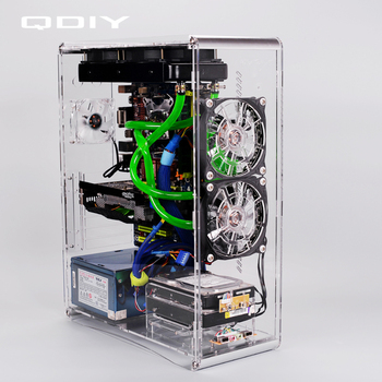 QDIY PC-A006SM MicroATX Clear Acrylic Computer Case PC Case Water Cooled Game Player Acrylic Computer Case