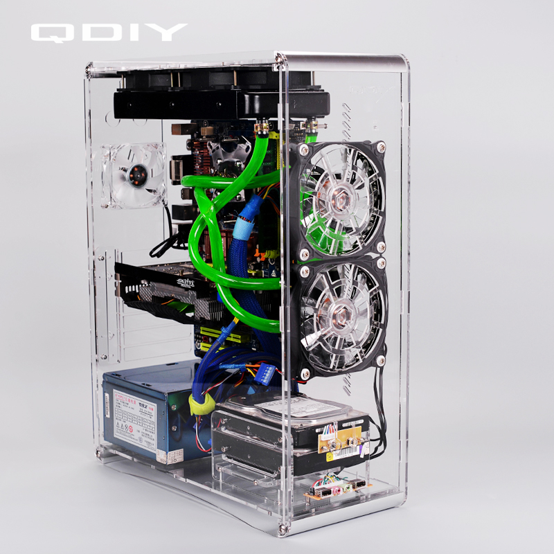 Qdiy Pc A006sm Microatx Clear Acrylic Computer Case Pc Case Water