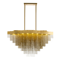 Пост современный люстра Nordic Творческий холле отеля столовая украшения лампы Американский Золотая цепь алюминия G9 лампы droplight