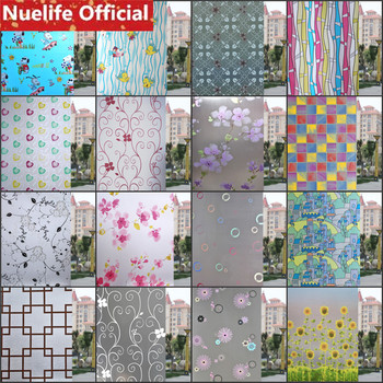 60x200cm Variety of frosted glass film balcony bathroom kitchen living room bedroom sliding door sunscreen opaque window film custom window film static glass film sliding door closet door decorative film birds translucent flowers frosted glass stickers