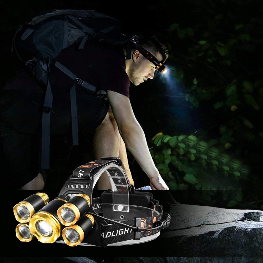 Купить с кэшбэком 1*T6+4XPE LED Headlight 4 Modes Headlamps Zoomable LED Headlamp Rechargeable Head Lamp Flashlight By 2*18650 Battery For Camping