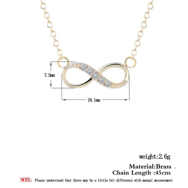 Chandler Liebe Überzogene Anzahl 8 Endlosen CZ Halskette & Anhänger Für Frauen Für Immer Ewige Freundschaft Infinity Mode Schmuck