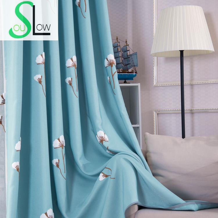 Slow Soul Blue Light Brown Curtains American Village Living Room Bedroom  Embroidered Floral Tulle Curtain For