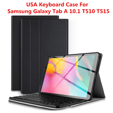 For Samsung Galaxy Tab A 10.1 2019 T510 T515 Tablet Case Detachable Wireless USA Keyboard PU Leather Flip Stand Tablet Case 3 in 1 detachable wireless bluetooth keyboard case for 9 10 inch tablet universal for samsung galaxy tab a s pu leather cover