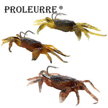 Proleurre 1Pcs Artificial Crab Lure Bait 3D Simulation Multicolour Soft Fish Bait With Hook Fishing Lures For Winter Fishing(China)