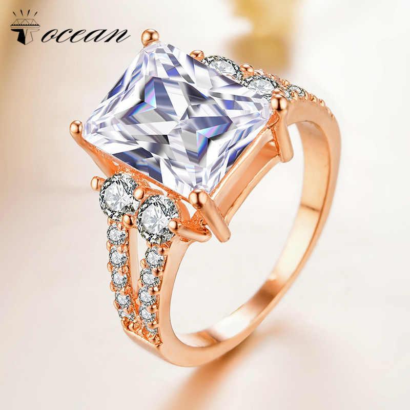 Tocean Rose Gold Cor Moda Cúbicos Anéis de Casamento Bonito para As Mulheres Praça Fresco AAA Zircon Engagement Bijoux Bague Tamanho 5 -12 W059