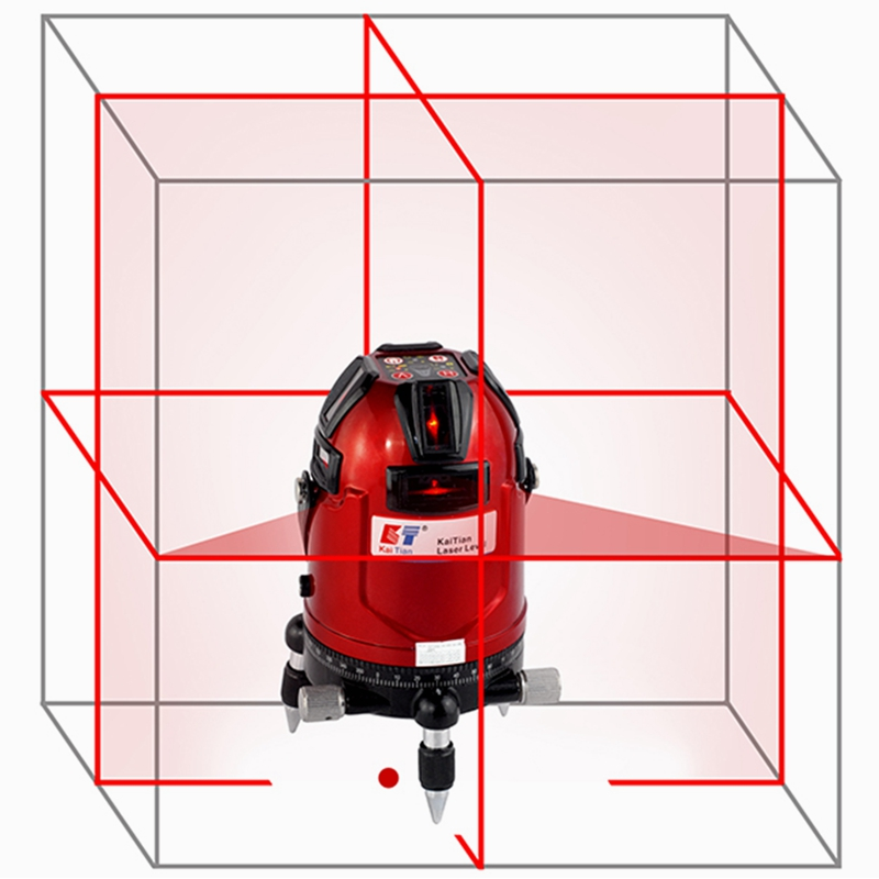 KaiTian Rotary Laser Level Cross 8 Lines Livella Laser Autolivellante a 360 Self-Leveling 635nM EU Laser x Beam Line Level Tools цена