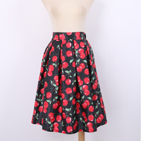 New High Quality Women Skirts Fold Casual Cherry Pattern High Waist Retro Empire Personality Pleated Knee