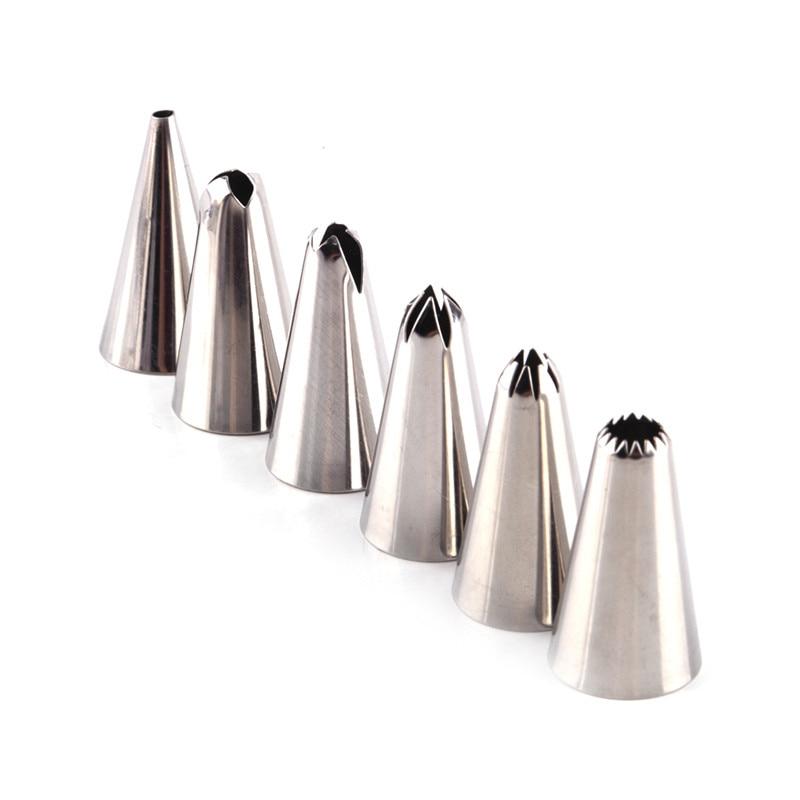 6 Unids/set Acero Inoxidable Icing Piping Pasteles de Los Inyectores Consejos Fi
