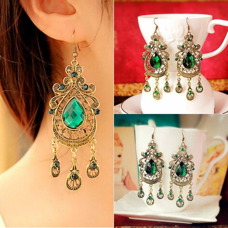 Retro Palace Droplets Green Crystal Náušnice Slitina náušnice ze slitin pro dámské módní šperky