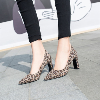 COOTELILI Spring Ladies Pumps Women Shoes Pointed toe Leopard Wedding Shoes Woman High Heels Party Flock Slip on 35-43