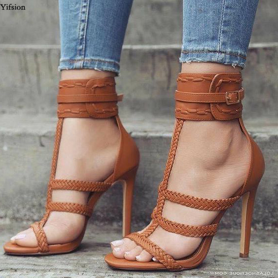 Olomm New Fashion Women Sandals Sexy Stiletto High Heels Sandals Nice Open Toe Black Brown Party