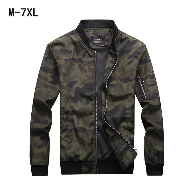 Men's Jacket Spring Autumn New Fashion Coat Plus Size M-7XL Casual Camouflage Outwear Male Trend Slim Fit Jackets Clothing