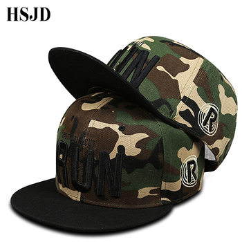 цена на 2018 New Letter RUN Snapback Baseball Cap Camouflage Hip Hop Hat For Men Women Street Dance Flat Brim Embroidery Men Caps