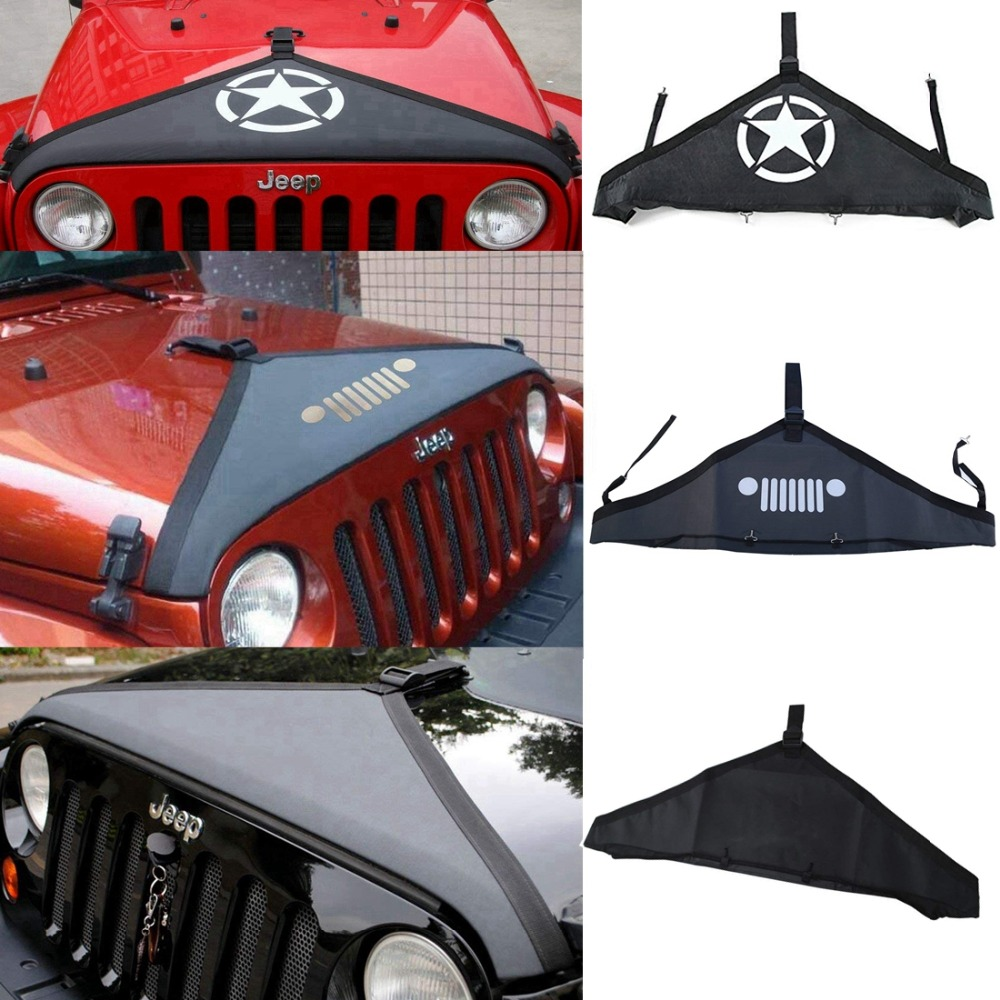 Black T-Style Hood Cover Front End Bra Protector Kit for 2007-2017 Jeep Wrangler
