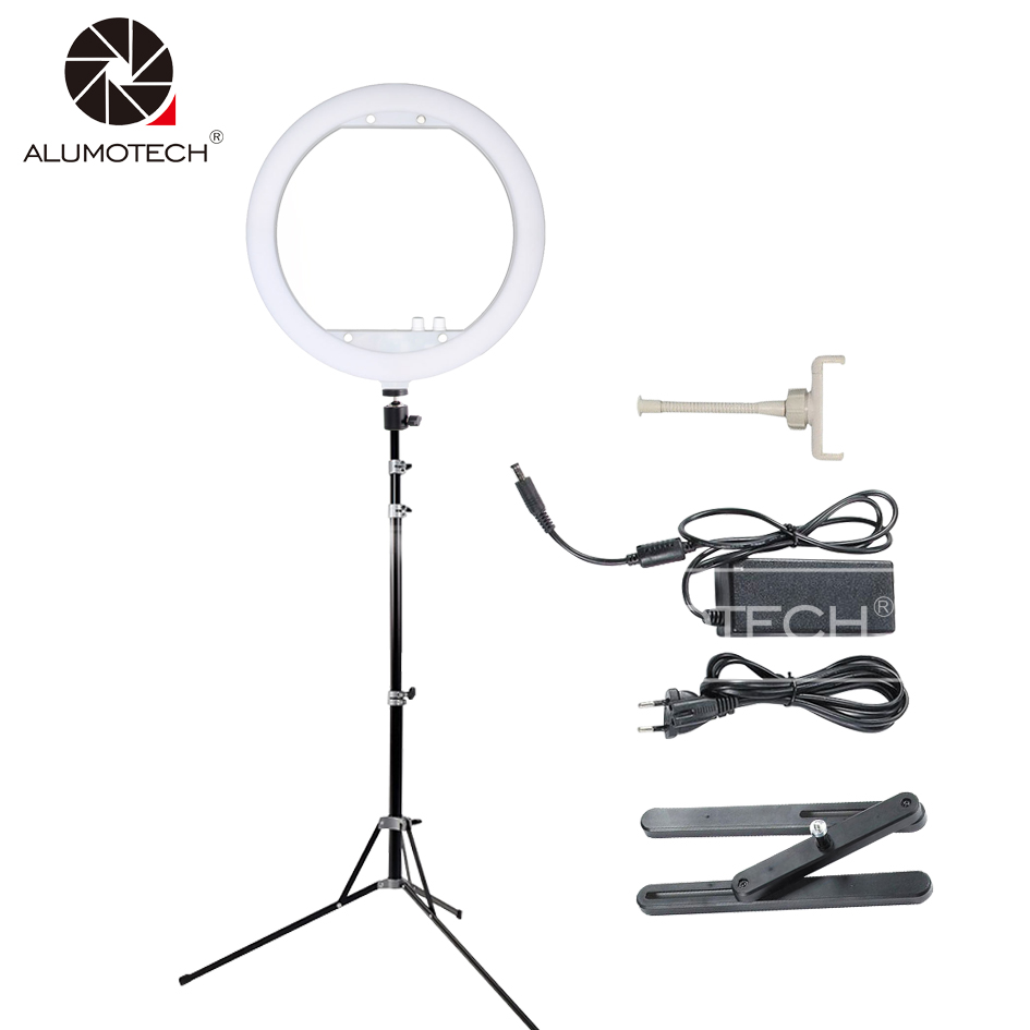 ALUMOTECH 13 35W Led Beauty Ring Light Dimming 3200K 7000K Stand For Video Markup Camera Photography