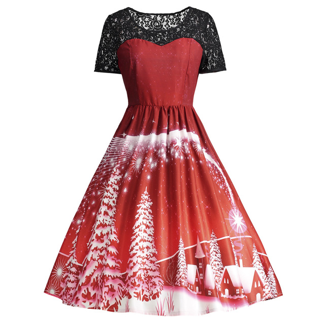 12058fbcc14 Gamiss Trendy Brand Plus Size Merry Christmas Party Lace Panel Vintage Dress  Masquerade Oversized Big Size