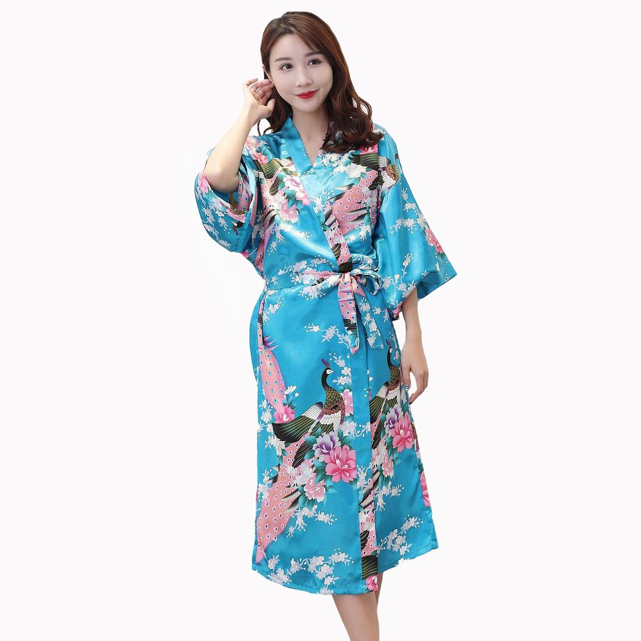 Kimono Wedding Gown: Women Kimono Bathrobe Gown Fashion Print Peacock Bride