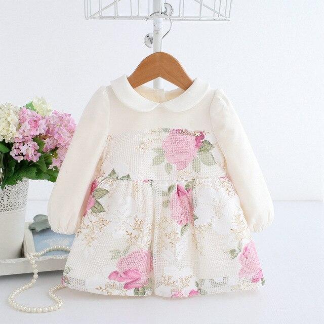 שמלת נסיכת תינוק הדפסת פרחים יפה כדור שמלת שמלה למסיבת חתונה יום הולדת תינוק פעוט הטבלה 1-2 T שמלת