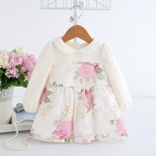 Baby Princess Dress Beautiful Flowers Print Ball Gown Dress for Wedding Party Toddler Christening 1-2T Baby Birthday Dress