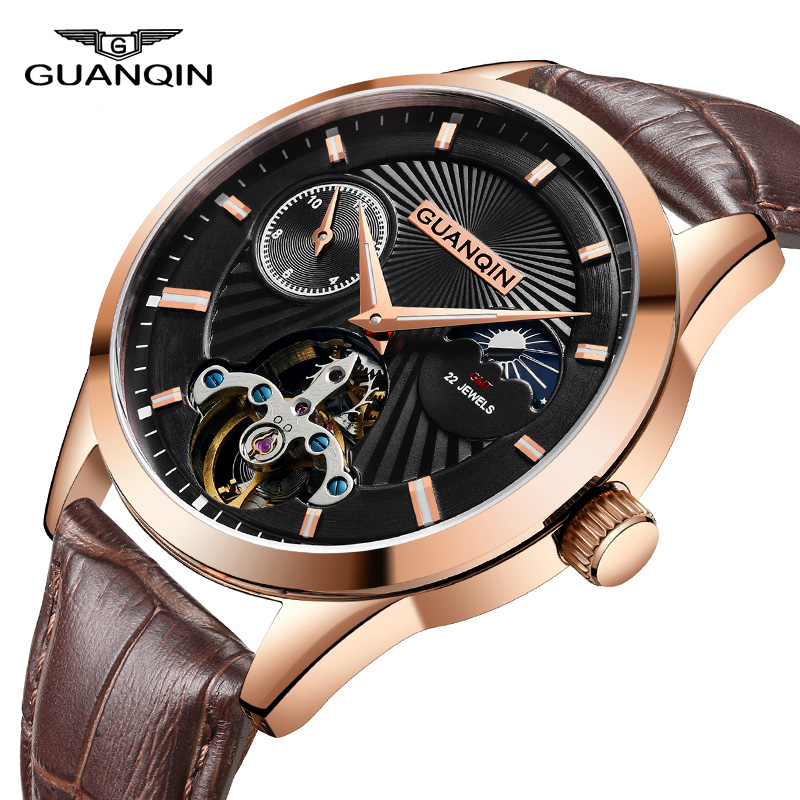 GUANQIN Brand Men Watch Tourbillon Automatic Leather Strap Watches Luxury Moon Phase Mechanical Waterproof Watch dropshipping guanqin watch men sport mens watches top brand luxury tourbillon automatic mechanical watch luminous analog clock leather strap