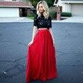 Rojo de moda Plisada Gasa de Las Mujeres Largas Faldas 2016 Por Encargo Elegante de La Cremallera Una Línea de la Longitud del Piso Sólido Maxi Faldas